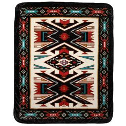 Plush Acrylic Southwest Design Blanket - Sand Painting
