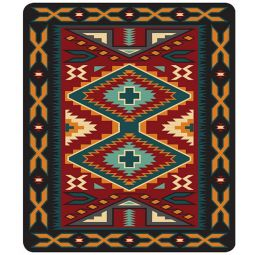 Plush Acrylic Southwest Design Blanket - Gando Red