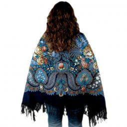 "Floral Design Wool Shawl - 57"" Square"