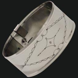 "German Silver Armbands, 1-1/2"" Stamped"