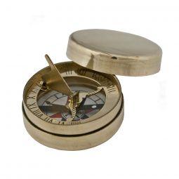 """Brass Sundial Compass, 1-3/4"""", 1750s Era"""