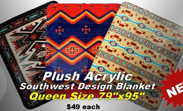 Plush Acrylic Southwest Design Blankets - Queen Size