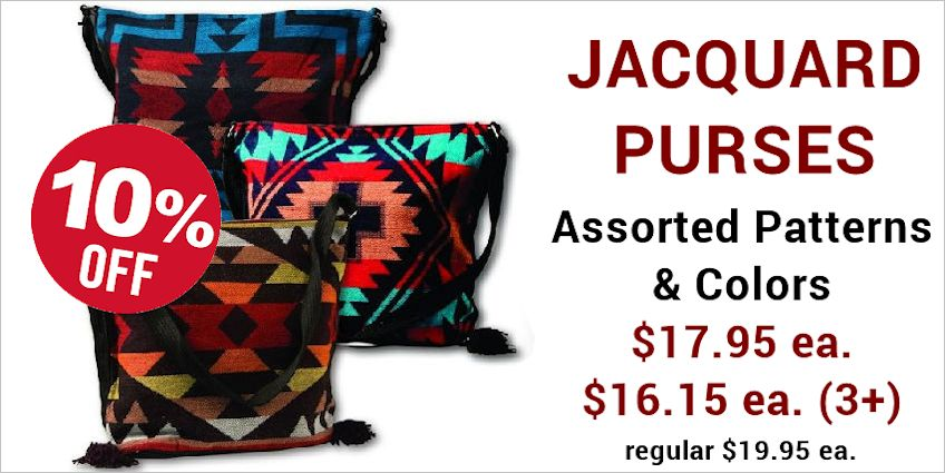 Jacquard Purses, Canvas Totes and Cotton Stencil Purses ON SALE