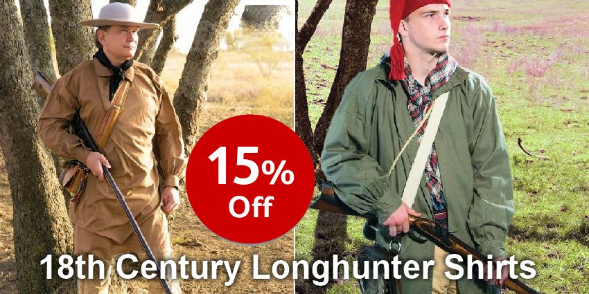 Save 15% - 18th Century Longhunter Shirts - Early American Frontier Shirts