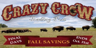 Crazy Crow dNews Last Chance for Fall Savings - ends Oct 31 2017