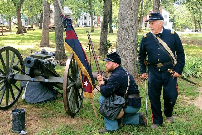 Grayson County Frontier Village Spring Civil War Days - Civil War Days at Grayson County Frontier Village - Grayson County Frontier Village - Colonel George R Reeves 11th Texas Cavalry Camp 349 Reenactors - Elliotts Scouts Texas Company D Reenactors