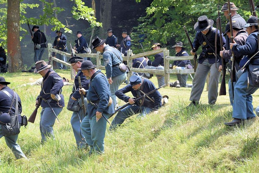 Spring Mill Civil War Winter Battle - 44th Tennessee Company K Civil War Reenactors - Spring Mill State Park Pioneer Village - 49th Indiana Company F Civil War Reenactors