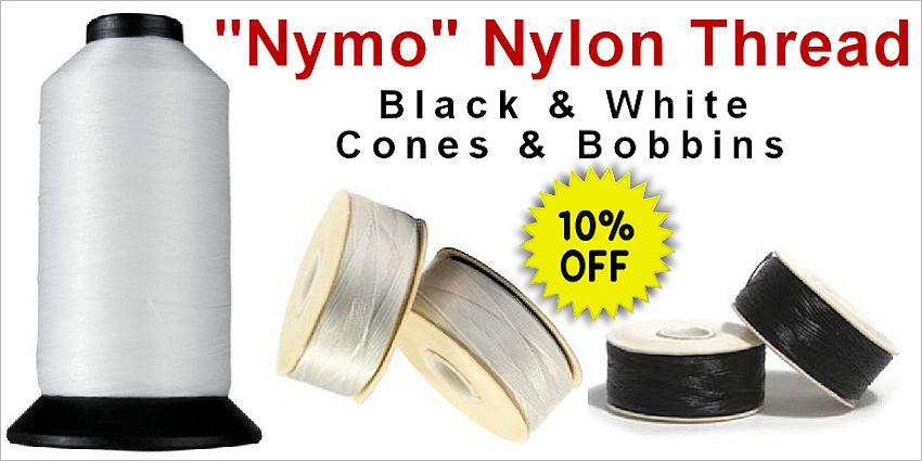 Nymo Nylon Thread: Bobbins & Cones, White & Black - Crazy Crow Trading Post Crow Calls Sale May-June 2018
