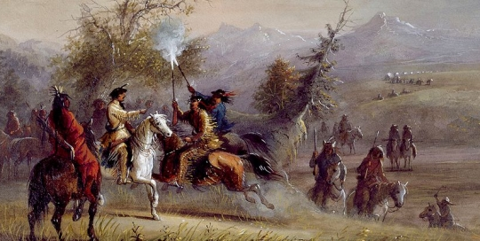 The Greeting, by Alfred Jacob Miller - Mountain Man Photo Resources - Crazy Crow Trading Post