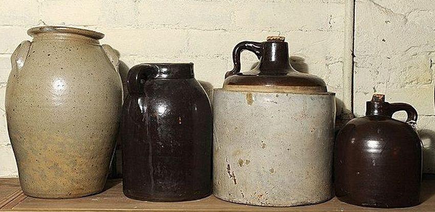 Stoneware Crock Jugs Alcohol On The