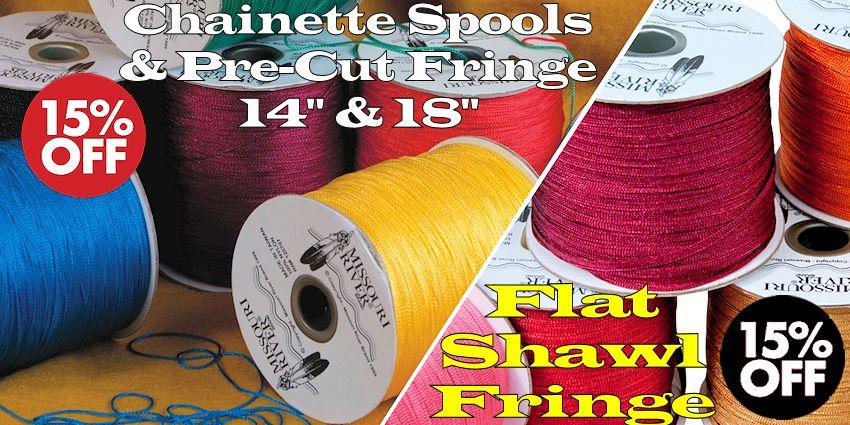 "Shawl Fringe Sale - 1800 yard Chainette Spools, 14"" and 18"" pre-cut; 244 yd flat fringe spools"