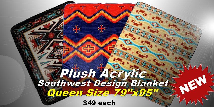 plush acrylic southwest design blankets queen size 79x95
