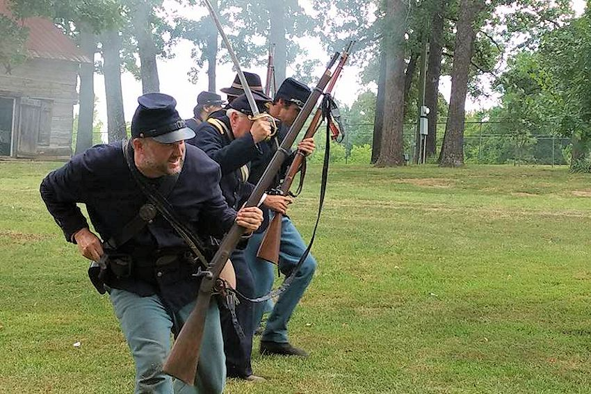 Grayson County Frontier Village Spring Civil War Days - Civil War Days at Grayson County Frontier Village - Grayson County Frontier Village - Colonel George R Reeves 11th Texas Cavalry Camp 349 Reenactors - Elliotts Scouts Texas Company D Reenactors