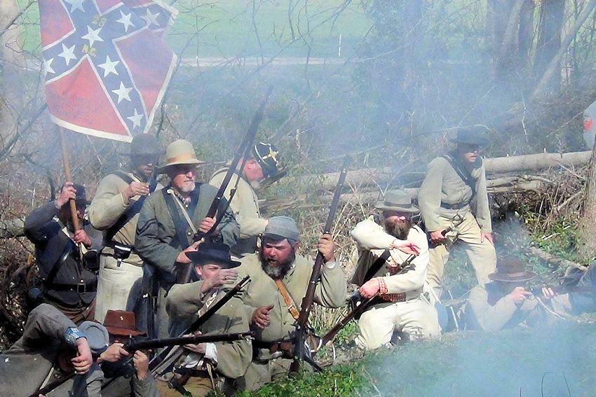 Oak Grove Plantation Civil War Reenactment Battle of Black River - Oak Grove Plantation at Averasboro Battlefield - 5th NC Company D Civil War Reenactors