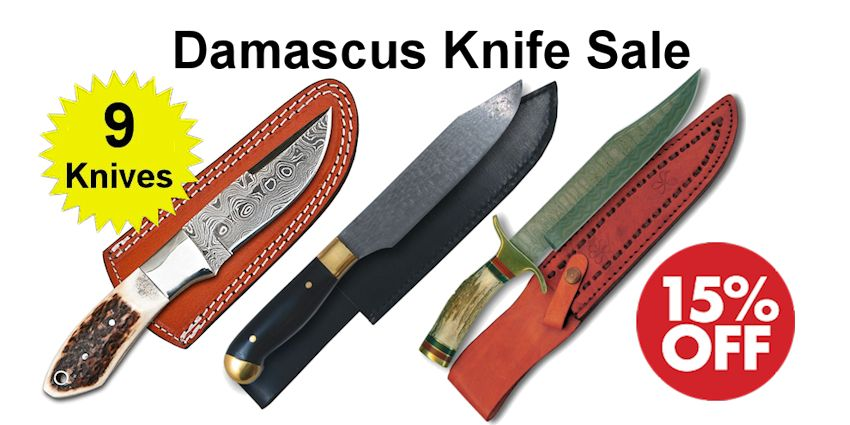 Damascus Steel Knives - SAVE 15% - Crazy Crow Trading Post Crow Calls Sale