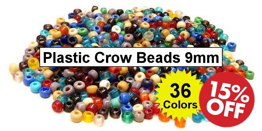 Plastic Crow Beads 9mm Opaque - Crazy Crow Trading Post Crow Calls Sale